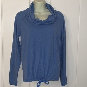 Columbia blue cowl neck long sleeved T-shirt